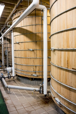bourbon: Large wooden tanks hold bourbon as it ferments during the production process