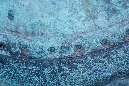 old metal: Blue patina coating on copper