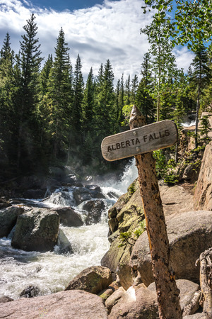 rocky mountain: A popular destination in Rocky Mountain National Park, Alberta Falls rushes after snow melts in early summer