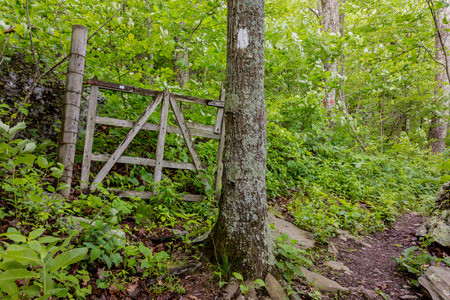 appalachian trail: The Appalachian trail passes an old gated area likely used for farming or agriculture