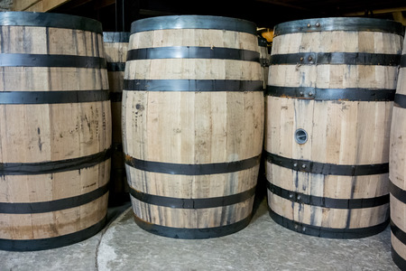 aging: Barrels of bourbon ready to be moved to storage for aging