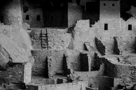 Black and white of Cliff Palace in Mesa Verde Stock Photo