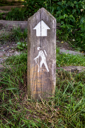 wooden post: A wooden post points to a hiking trail along the Blue Ridge Parkway in North Carolina Stock Photo