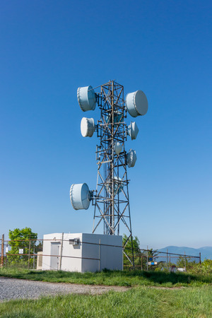 remote communication: A communication tower in a remote section of Shenandoah National Park Stock Photo