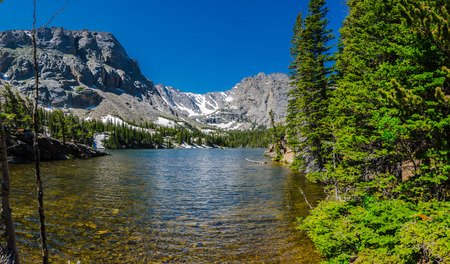 rocky mountain: A popular destination in Rocky Mountain National Park is the Loch, a mountain lake filled with snow melt from the winter