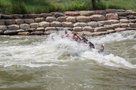 rafters: A group of rafters hit a rapid on the Animas River outside of Durango