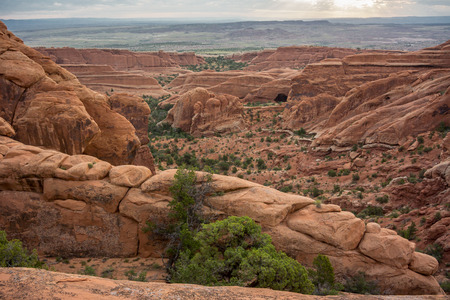 the devils garden: Overlook to Black Arch along the Devils Garden Trail Stock Photo