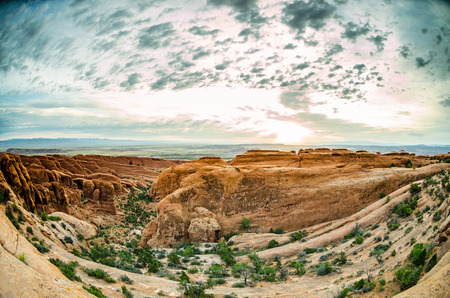 the devils garden: A morning view of the canyons along the Devils Garden Trail just after sunrise Stock Photo