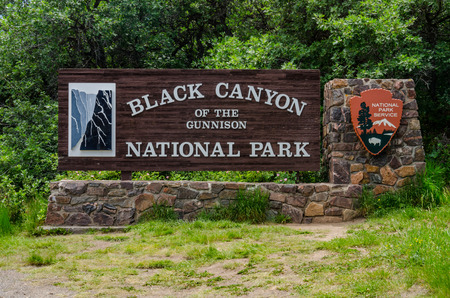 wood structure: The welcome sign to Black Canyon of the Gunnison National Park