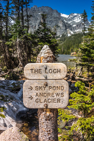rocky mountain national park: A sign at the Loch in Rocky Mountain National Park Stock Photo