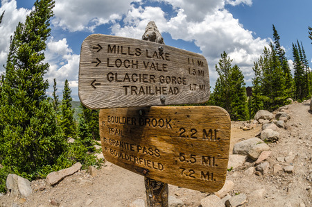 rocky mountain national park: At the intersection of trails in Rocky Mountain National Park, a sign points to different landmarks Stock Photo