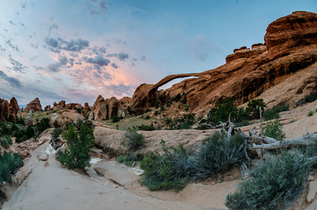 geological feature: A fisheye view of Landscape Arch shortly after sunrise
