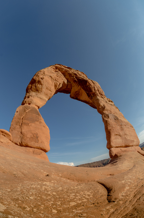 delicate arch: A fisheye shot of the iconic Delicate Arch