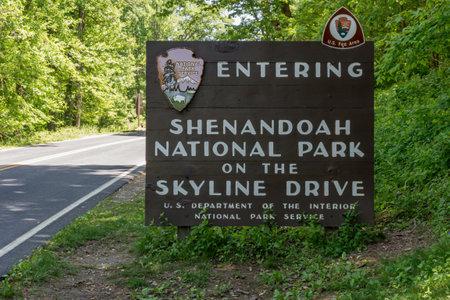 appalachian trail sign: Waynesboro, VA- May 22, 2015. The welcome sign at the south entrance to Shenandoah National Park