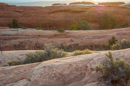 rock layers: Layers of slick rock along the Devils Garden Trail Stock Photo