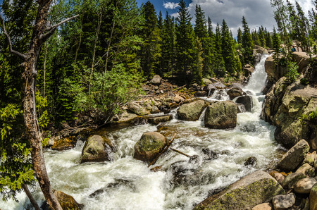 Fisheye view of Alberta Falls as it  rushes in early summer while snow melt adds to its flow