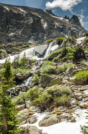 rocky mountain national park: Timberline Falls cascades down from Sky Pond high in Rocky Mountain National Park