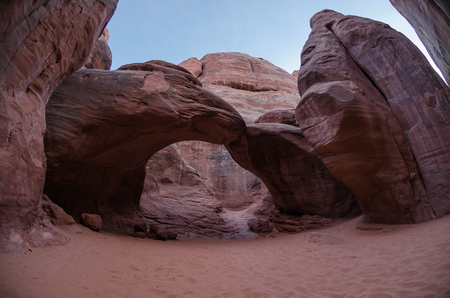 canyon walls: Inside canyon walls is Sand Dune Arch, named so for the soft lining filling the canyon Stock Photo
