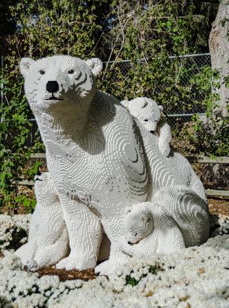 denver co: DENVER, CO: September 22, 2015: A statue of a polar bear and cubs made of Legos at the Denver Zoo
