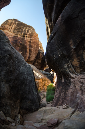 slot canyons: Hiking through rock formations in the Needles district of Canyonlands