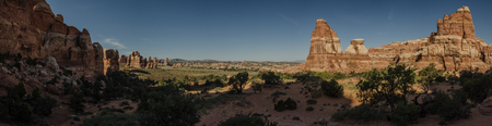 geological feature: A panorama of formations in Chessler Park in the Needles District of Canyonlands Stock Photo