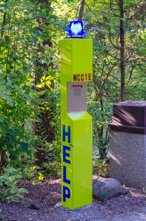 public safety: College campuses are becoming increasingly concerned with public safety, including installing help stations such as this one