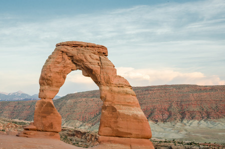 delicate: The iconic delicate arch glows in late afternoon light Stock Photo