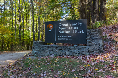 the smokies: Gatinlinberg, United States- October 14, 2015: The entrance to the remote Cataloochee section of the Smokies in fall