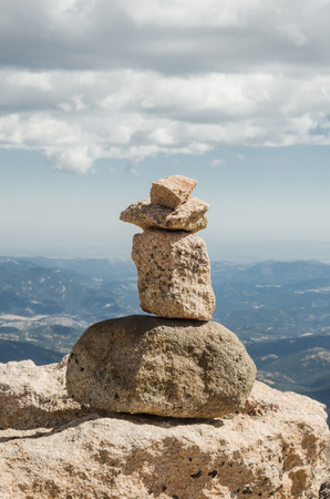mount evans: A stack of rocks near the peak of Mount Evans in Colorado