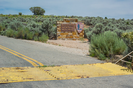 cattle guard: New Mexico, United States: July 3, 2015: The remote Hovenweep National Monument run by the National Park Service