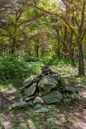 appalachian: A large cairn at the peak of Calf Mountain along the Appalachian Trail in Shenandoah National Park Stock Photo