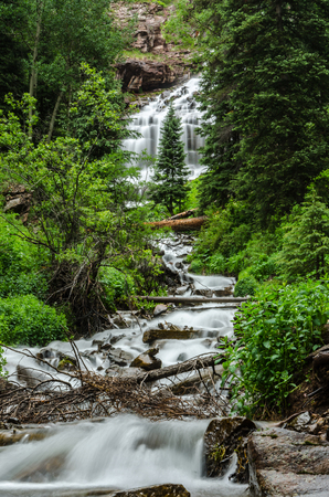 silverton: Waterfall and stream from the snow melt coming out of Ice Lake Basin near Silverton in Colorado Stock Photo