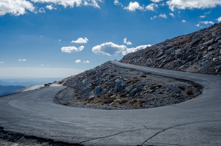 curve road: The steep and winding road to the peak of Mount Evans