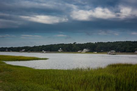 intercoastal: Grasses line the intercoastal waterway in North Carolina