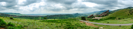 geological feature: A panoramic view from an overlook in Red Rocks Park Stock Photo