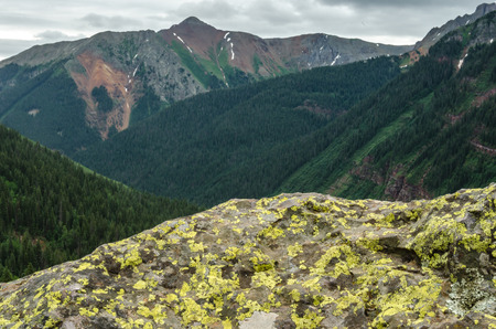 silverton: Green lichen grows on a boulder overlooking tall Colorado mountain peaks Stock Photo