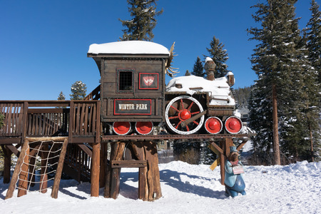 ski lodge: Winter Park, United States: December 28th, 2015: The quaint ski village of Winter Park has family friendly spaces in public spaces Editorial