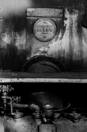 Details on a vintage train station operating in Colorado Stock Photo