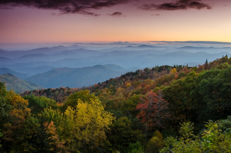 north ridge: Fall Sunset over the Blue Ridge parkway at a lookout in North Carolina