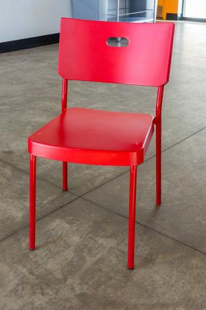 ski lodge: Red chair inside a modern meets traditional ski lodge Stock Photo
