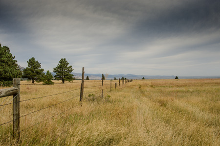 recreation area: An old barbed wire fence separates two dry fields in the recreation area around the Flat Iron mountains Stock Photo