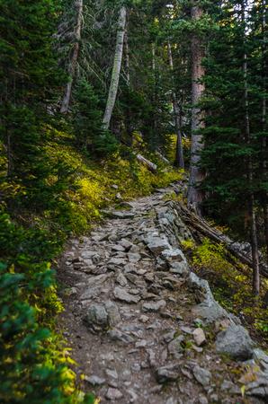 秋の間にコロラド州のオデッサ湖トレイルの色を変更します。 写真素材
