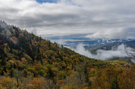wisps: Fog wisps in mountains changing in autumn along the Blue Ridge parkway