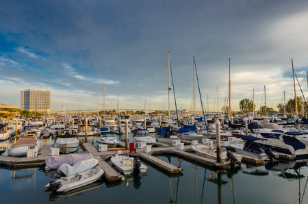 Convention Center: San Diego, United States: January 27, 2016: A marina near the San Diego convention center