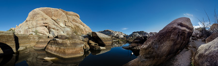 barker: Barker Dam Panorama shows the effects of a dry period in a California desert Stock Photo