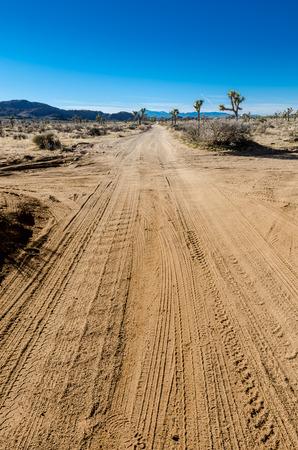 cross roads: Desert cross roads vertical with car tracks Stock Photo