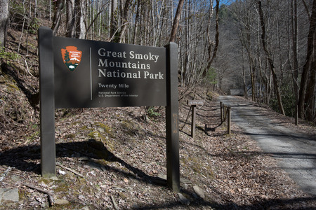 great smoky mountains national park: Entry sign to Twenty Mile section of the Great Smoky Mountains National Park