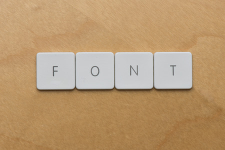 formatting: Keyboard letters spell the word font