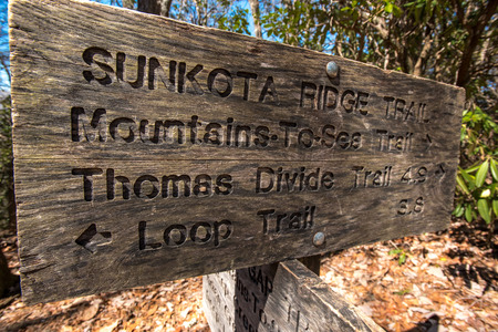 great smoky mountains national park: Sunkota ridge Trail Sign Angle marks an intersection in Great Smoky Mountains National Park