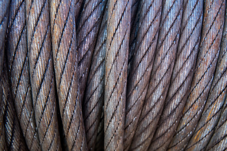 unstuck: Winch Cable Close Up shows tightly wound coil Stock Photo